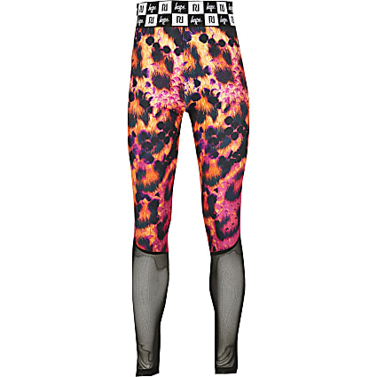 Girls RI x Hype pink snake panel leggings