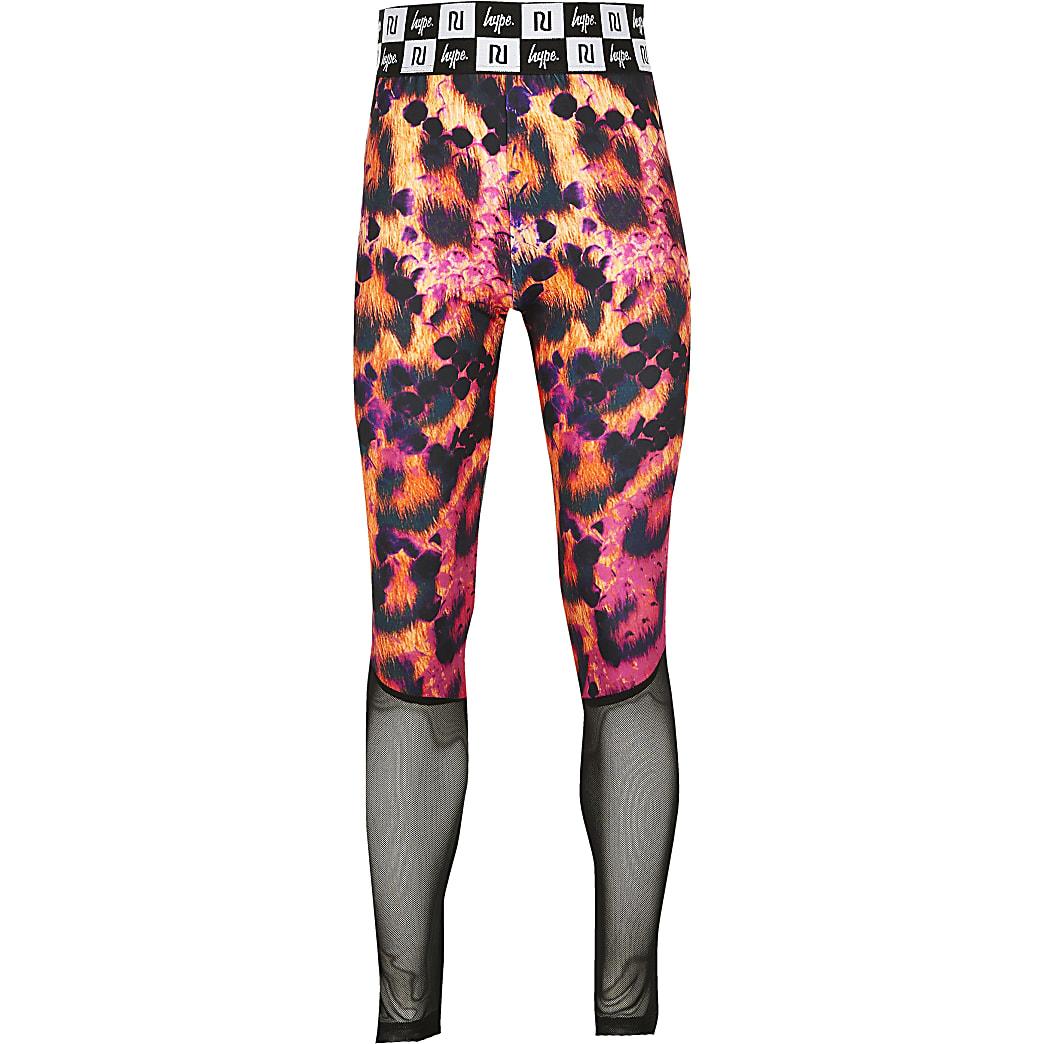 Girls RI x Hype pink snake panel leggings