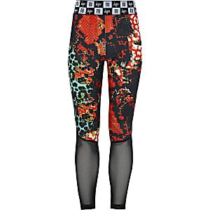 RI x Hype - Rode mesh legging met print voor meisjes