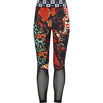 Girls RI x Hype red printed mesh leggings