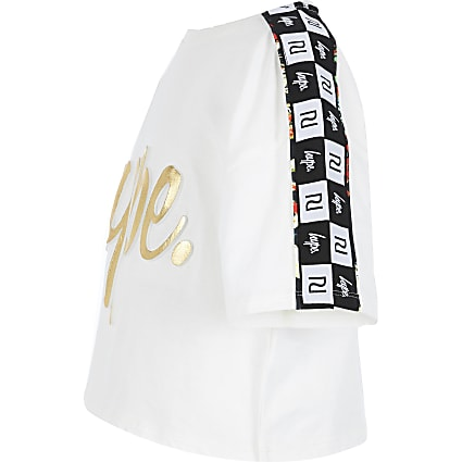 Girls RI x Hype white tape cropped T-shirt