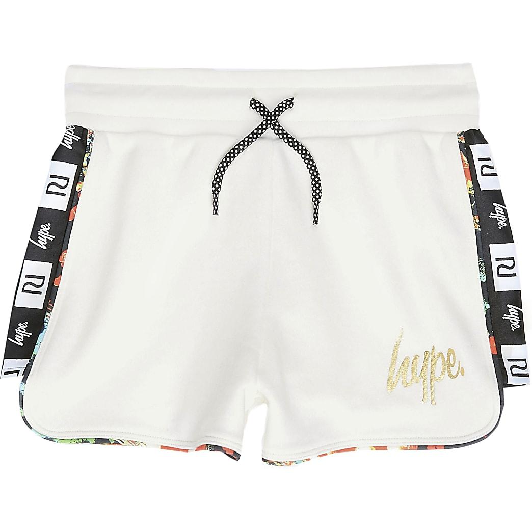 RI x Hype - Witte short met bies aan zijkant voor meisjes