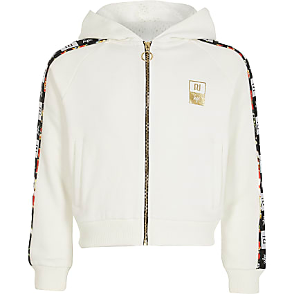 Girls RI x Hype white tape zip hoodie