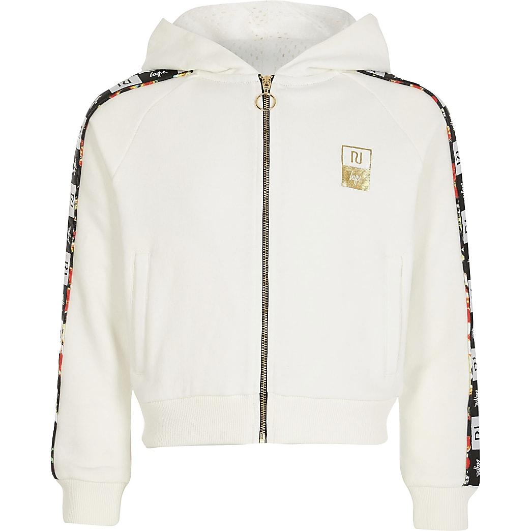 Girls RI x Hype white tape zip hoodie