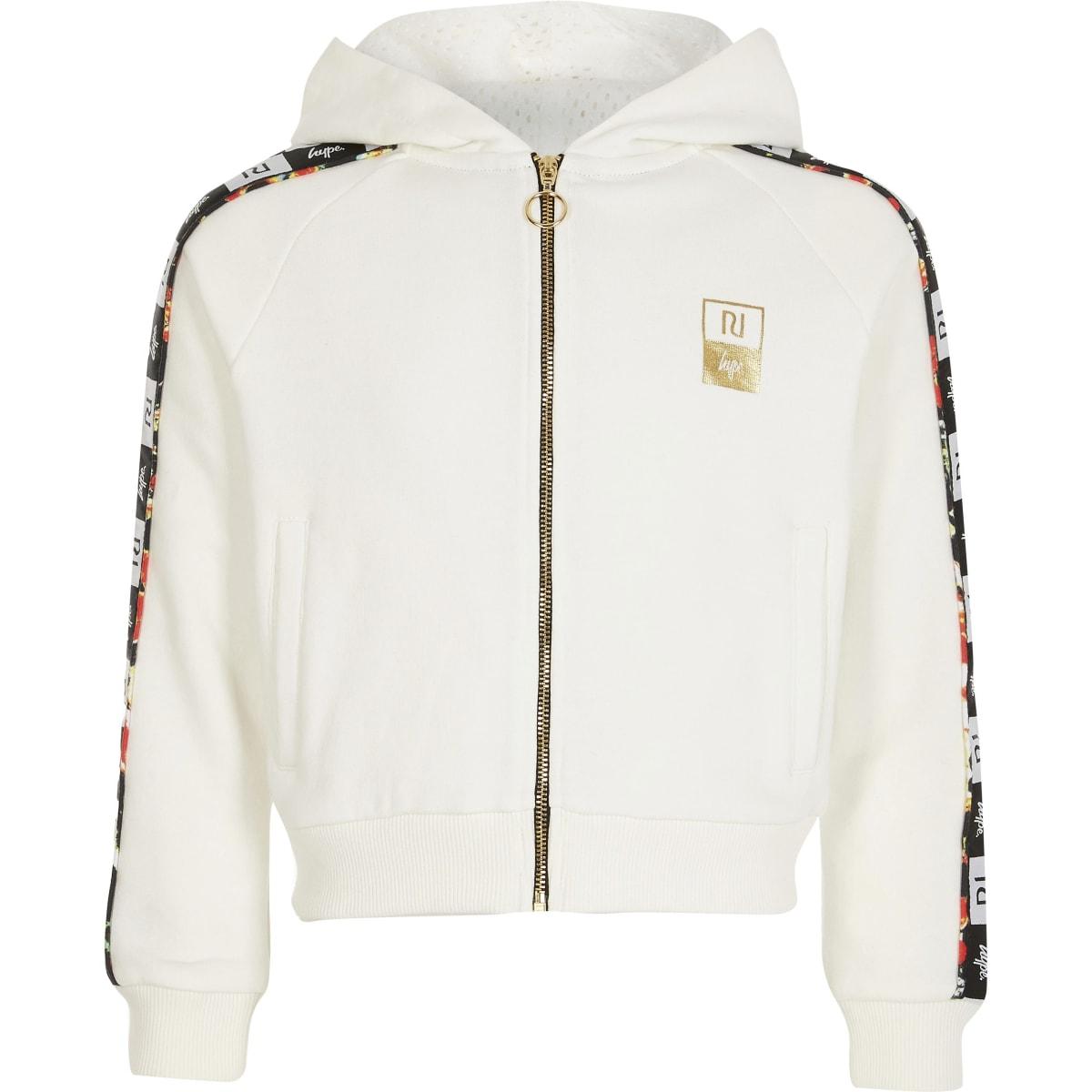 RI x Hype - Witte hoodie met bies en rits voor meisjes