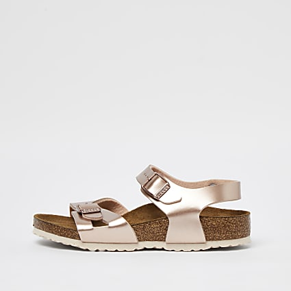 Girls rose gold Birkenstock strap sandal