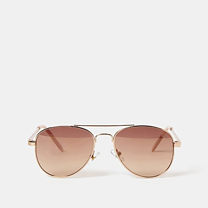 Girls rose gold colour aviator sunglasses
