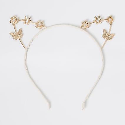 Girls rose gold colour cat ear headband