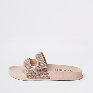 Roségoudkleurige slippers met siersteentjes voor meisjes
