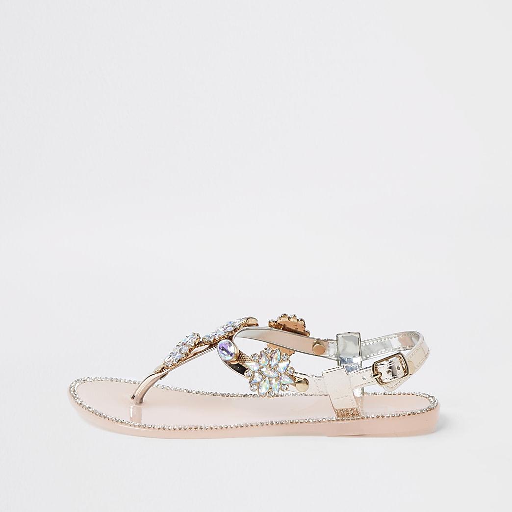 Girls rose gold embellished jelly sandal