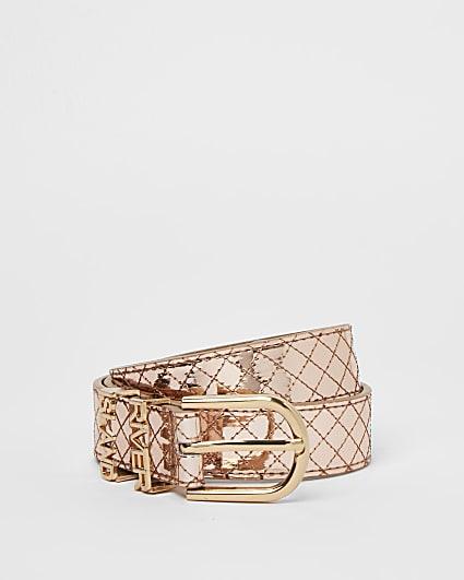 Girls rose gold metallic belt