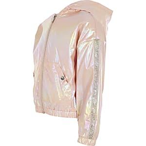 Roségoudkleurig metallic hoodie jack voor meisjes