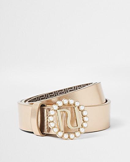 Girls rose gold metallic pearl trim belt