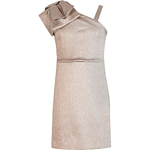 Girls rose gold one bow shoulder dress