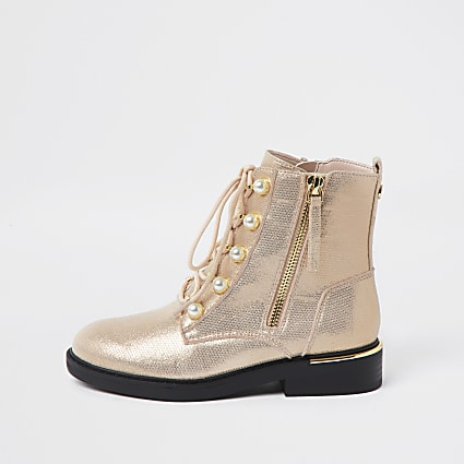 Girls rose gold pearl eyelet boots