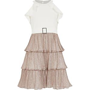 Roségoldenes Plissee-Kleid mit Halterkragen und Rüschen für Mädchen