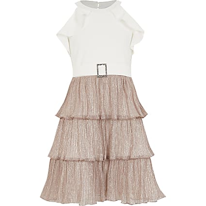 Girls rose gold plisse ruffle halter dress