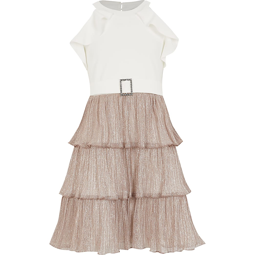Roségoudkleurige halter-jurk met gelaagde ruches voor meisjes