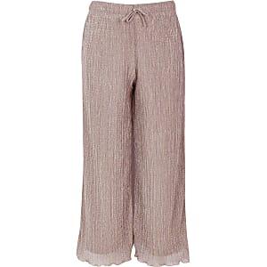 Roségoudkleurige gelaagde broek met wijde pijpen