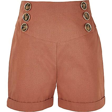 Girls rust button front turn up hem shorts
