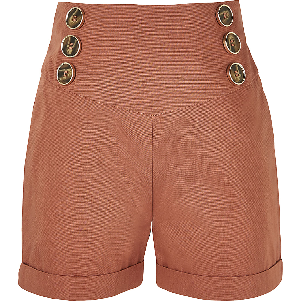 Girls rust button front turn up hem shorts