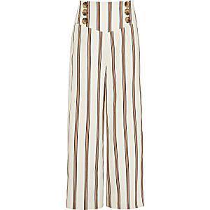 Pantalon large rayé rouille pour fille