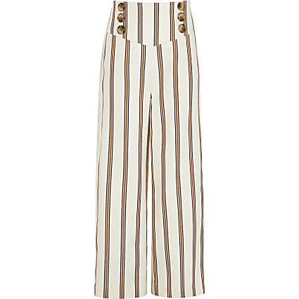 Girls rust stripe wide leg trousers