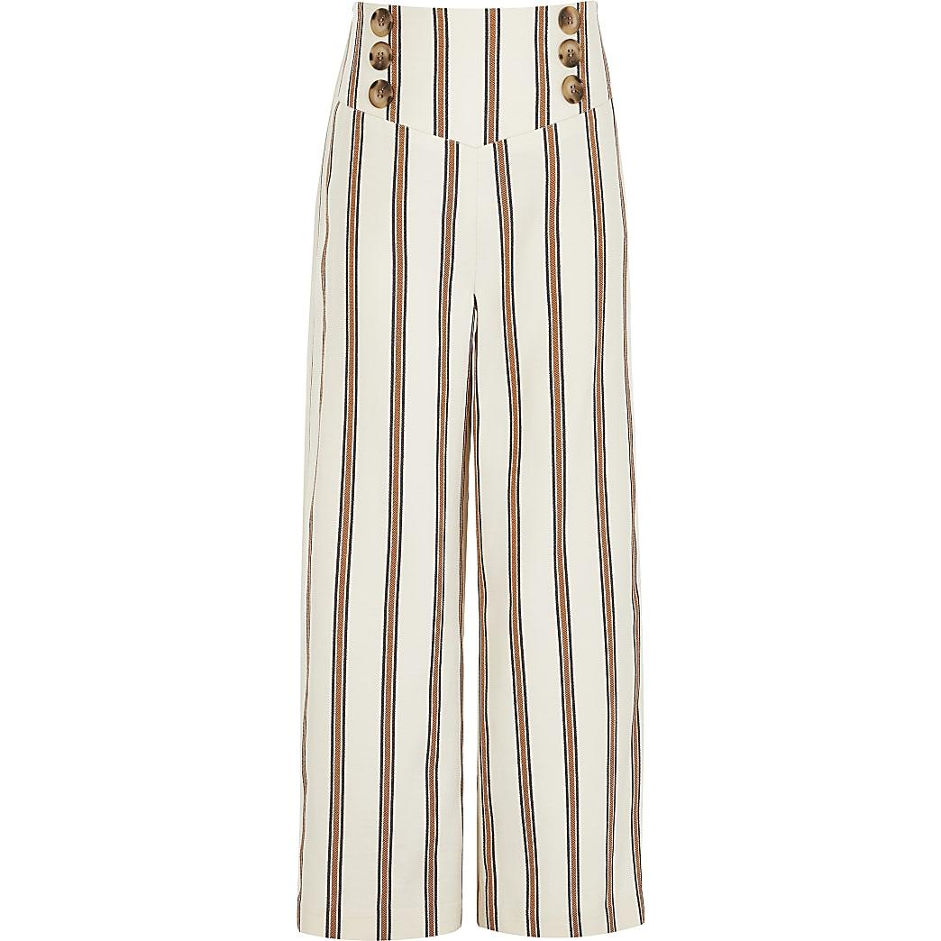 Roestbruine gestreepte broek met wijde pijpen voor meisjes