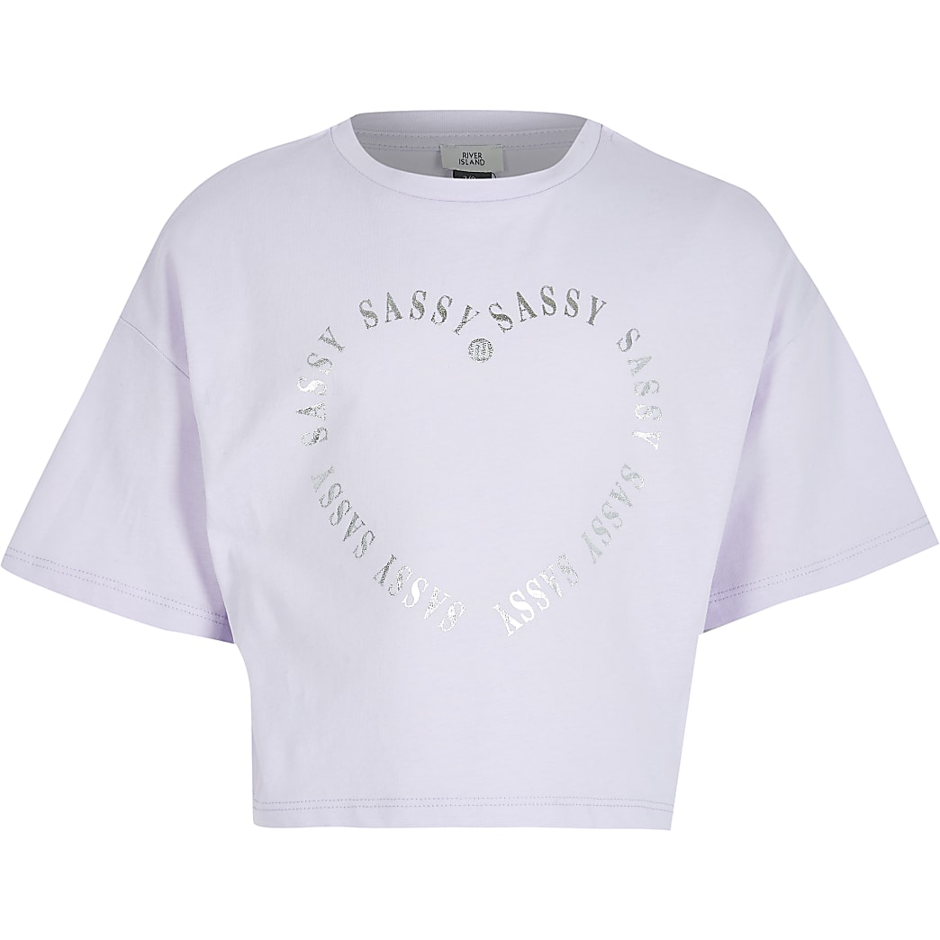 Girls 'Sassy' heart print t-shirt