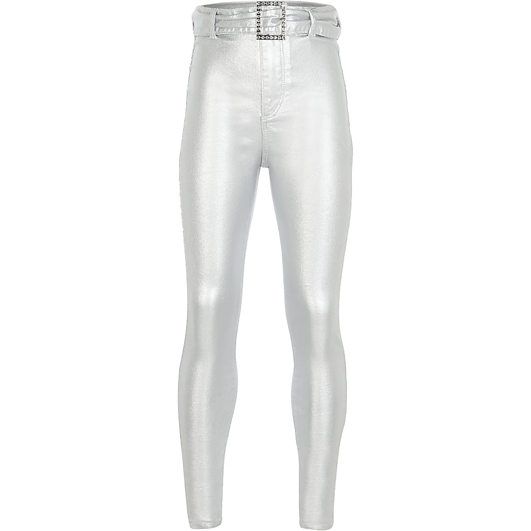 Girls silver belted Kaia high rise jeggings