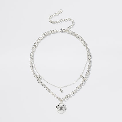 Girls silver chain heart necklace
