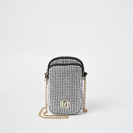 Girls silver chainmail cross body bag