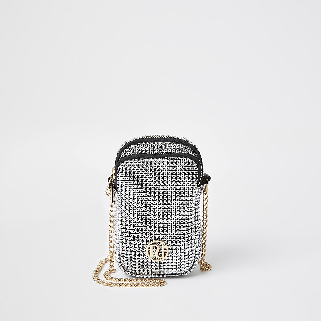 Girls silver chainmail cross body bag