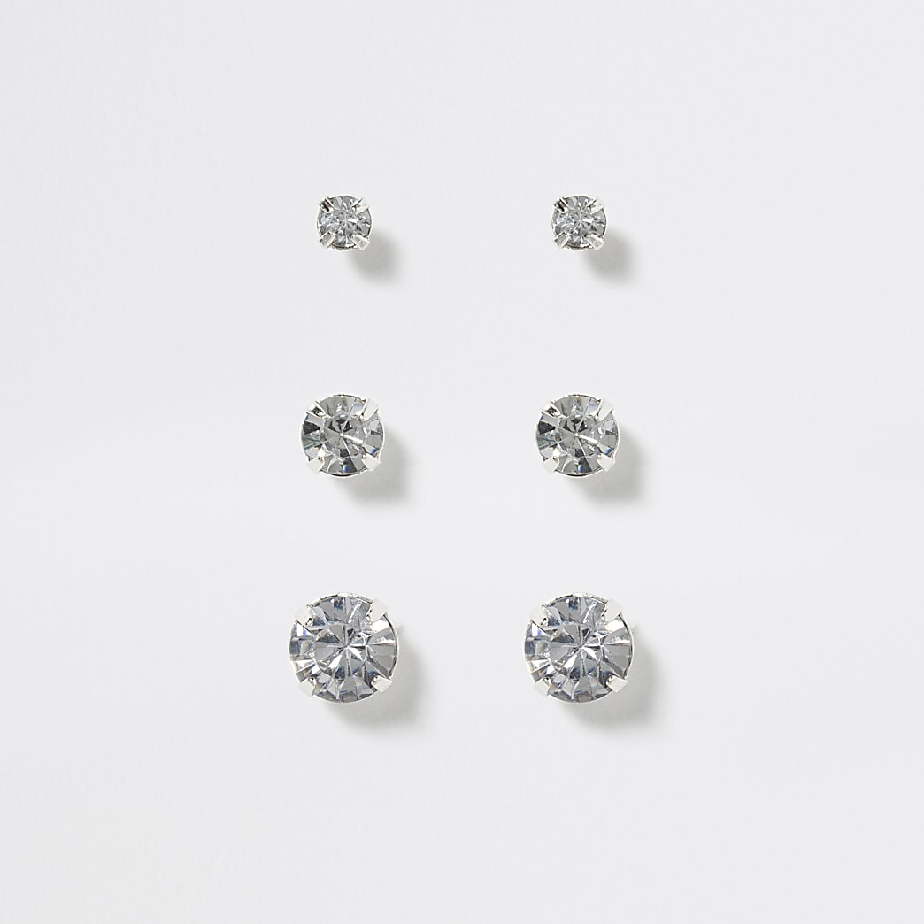Girls silver colour stud earring 3 pack