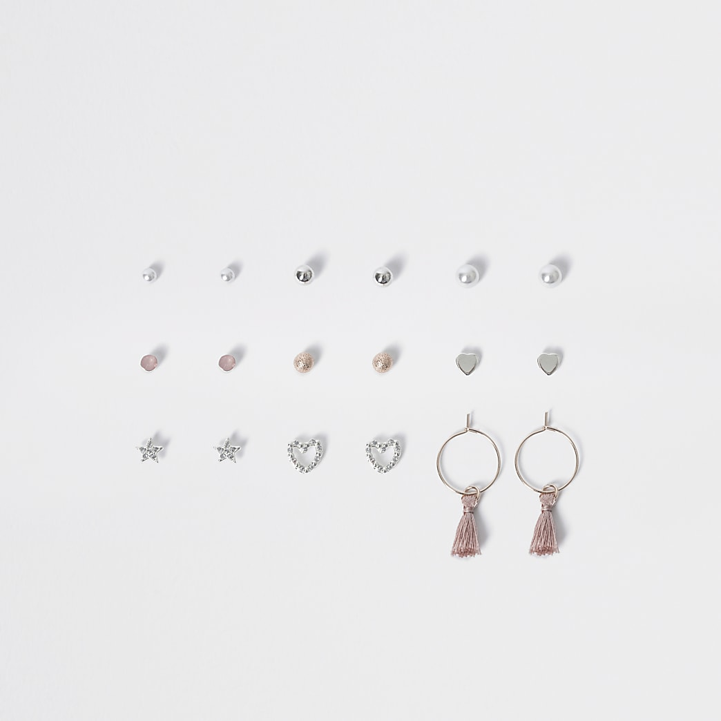 Girls silver colour stud earring multipack