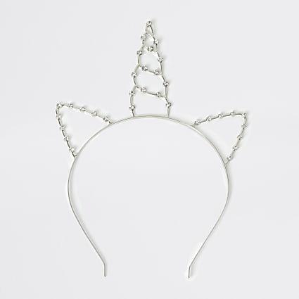 Girls silver colour unicorn diamante headband
