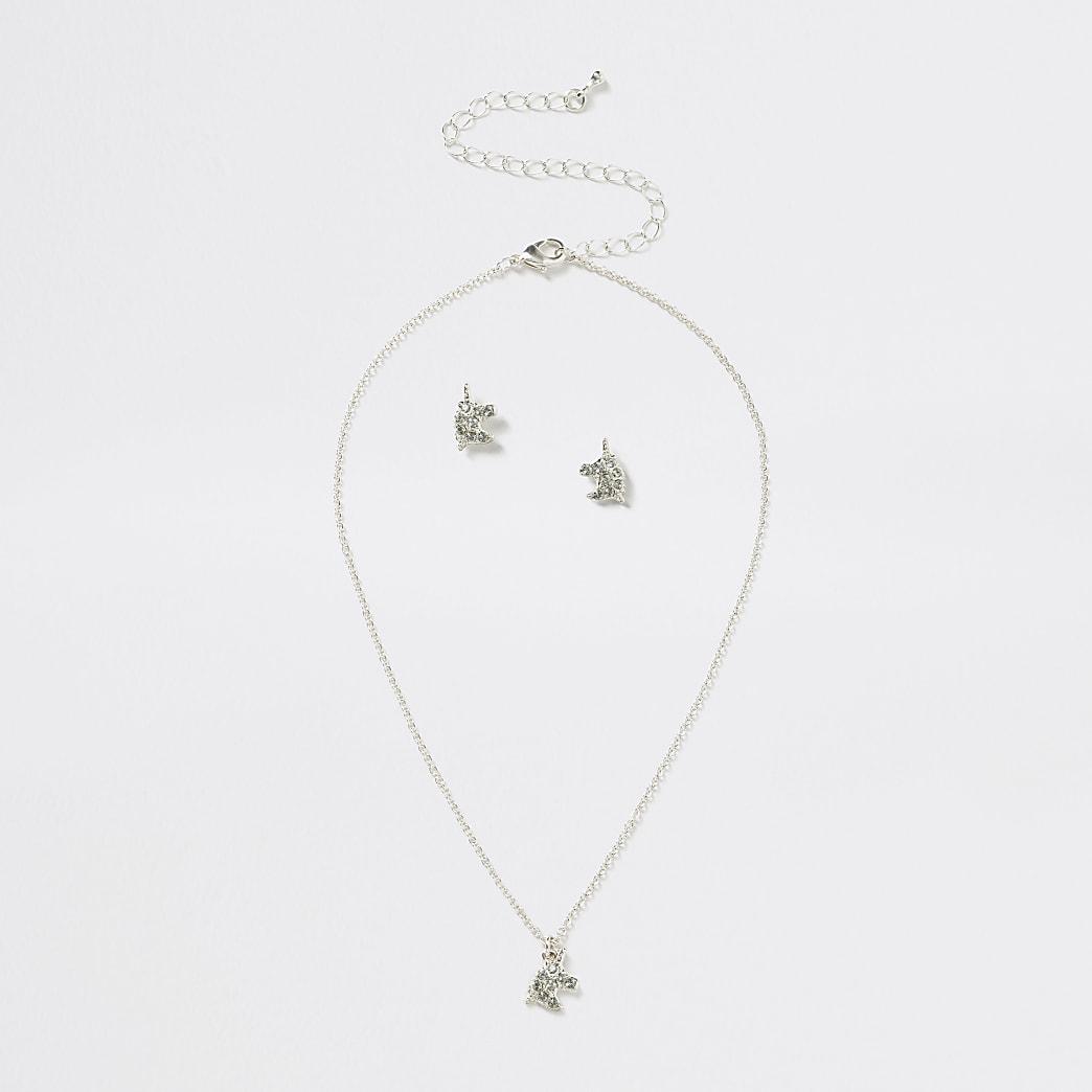 Girls silver colour unicorn necklace set