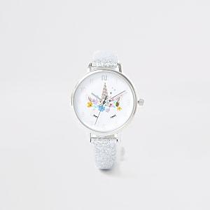 Silberfarbene Armbanduhr mit Einhorn für Mädchen