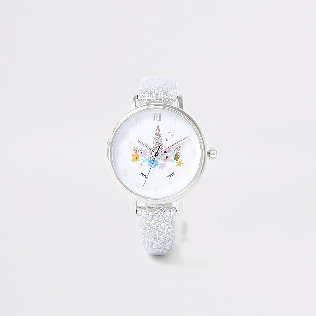 Girls silver colour unicorn watch