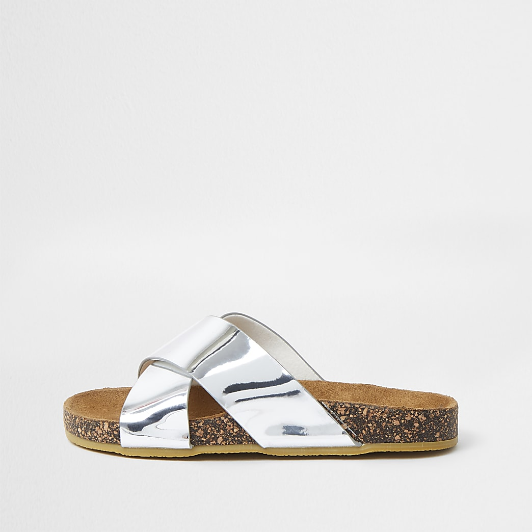 Girls silver cross strap sliders
