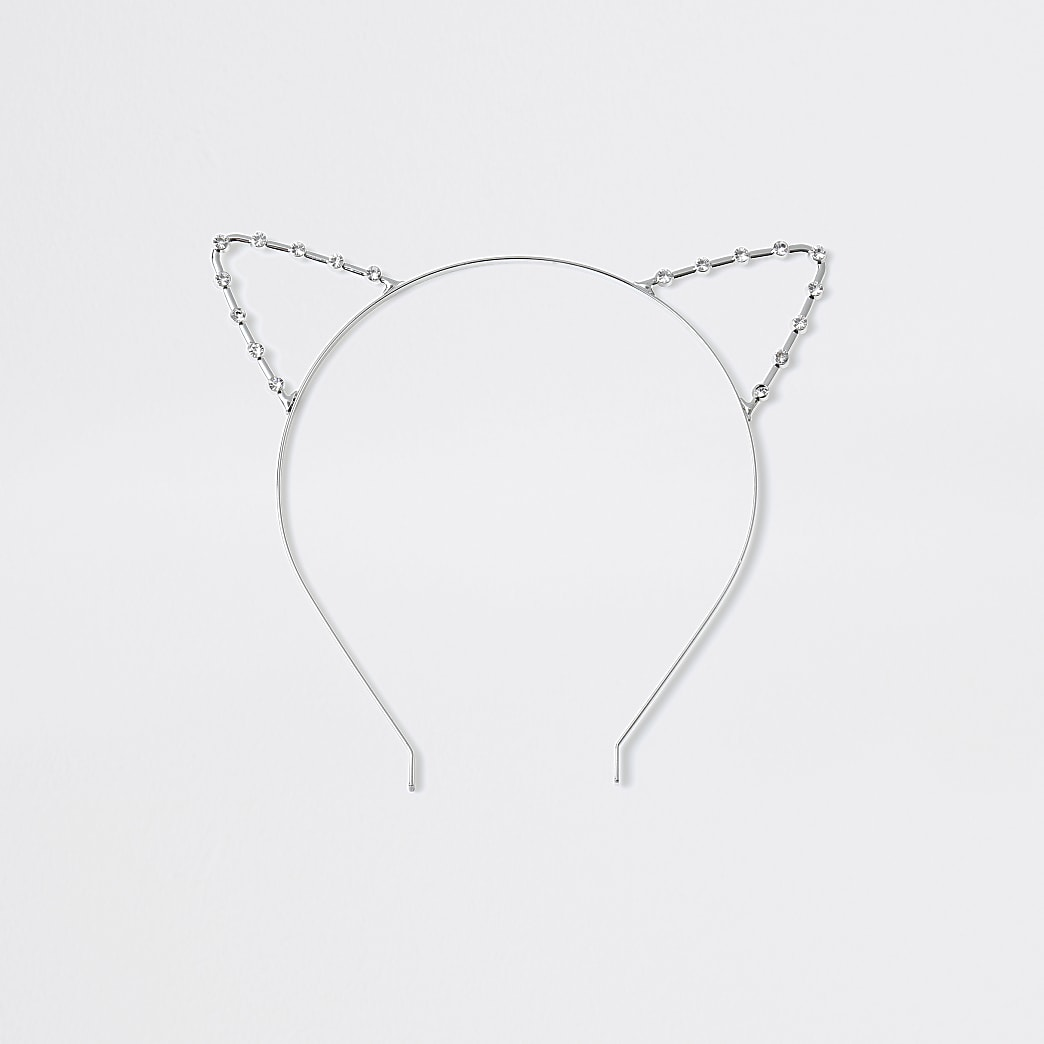 Girls silver diamante cat ears hairband