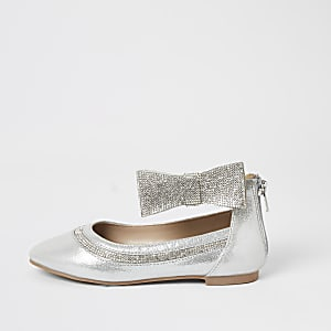 Girls silver embellished bow ballerina shoes