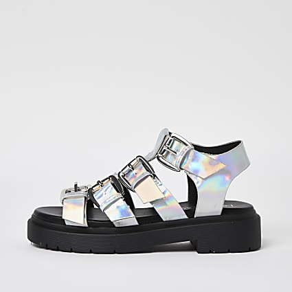 Girls silver gladiator buckle sandals