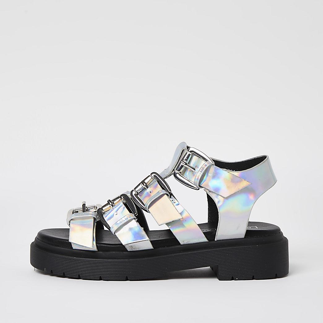 Girls silver gladiator buckle sandals