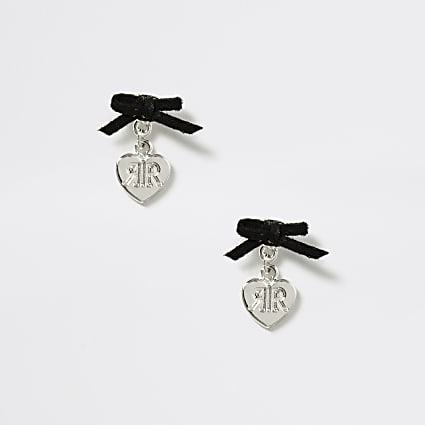 Girls silver heart bow stud earrings
