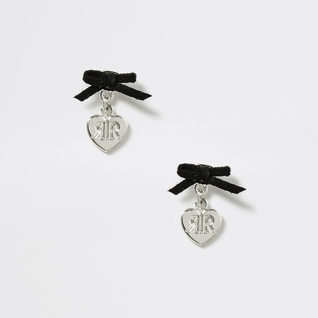 Girls silver heart bow stud earrings