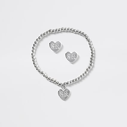 Girls silver heart earrings and bracelet set