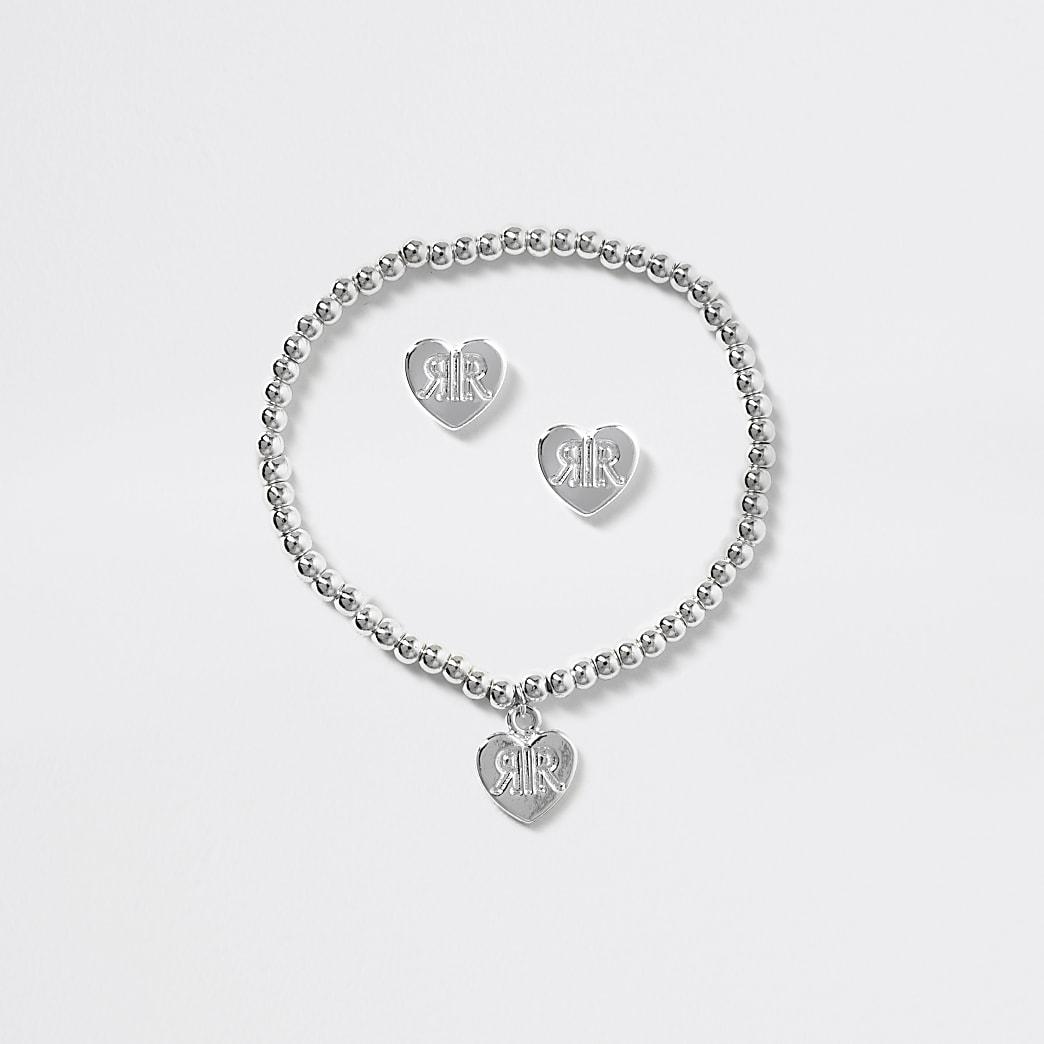 Girls silver heart earrings and bracelet set