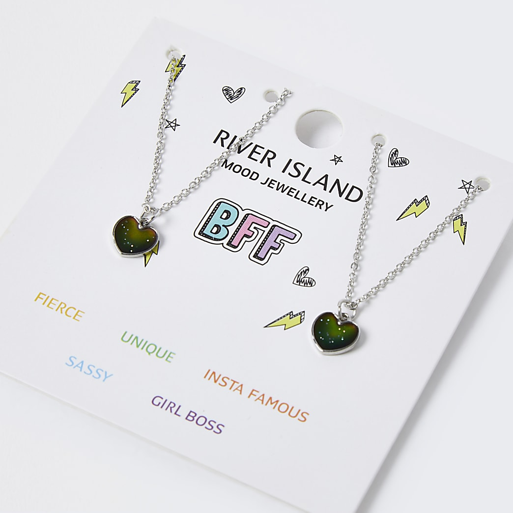Girls silver heart mood ditsy necklace set