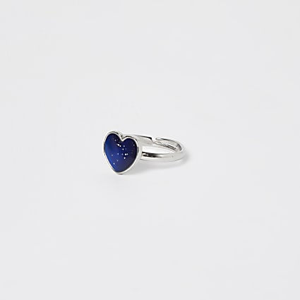 Girls silver heart mood ring